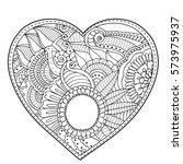 dark red zendoodle floral heart.... | Shutterstock .eps vector #573975937