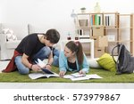 brother and sister preparing... | Shutterstock . vector #573979867