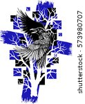 abstract raven with black and... | Shutterstock .eps vector #573980707
