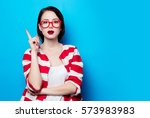 portrait of the beautiful young ... | Shutterstock . vector #573983983