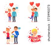 set cute people theme valentine'... | Shutterstock .eps vector #573990373