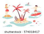 vector tropical island  surfer... | Shutterstock .eps vector #574018417
