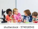 kids doing a chemical... | Shutterstock . vector #574018543