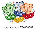 color carnival masks. copy... | Shutterstock .eps vector #574036867