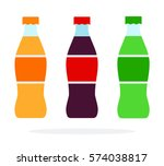 Three Bottles With Soda Vector...