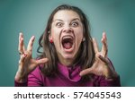 Angry Woman Screaming With Rag...