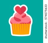 cute lovely cupcake vector... | Shutterstock .eps vector #574075633