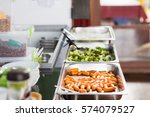 fresh meal in lunch service...   Shutterstock . vector #574079527