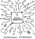 set of arrow hand drawn design... | Shutterstock .eps vector #574096363