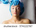 woman receiving botox injection ... | Shutterstock . vector #574122787