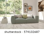 white room with sofa and green... | Shutterstock . vector #574132687