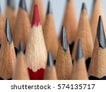 red pencil standing out from... | Shutterstock . vector #574135717