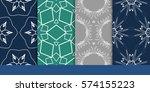set of decorative floral... | Shutterstock .eps vector #574155223
