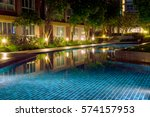 water pool in courtyard in... | Shutterstock . vector #574157953
