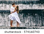 happy family on honeymoon... | Shutterstock . vector #574160743