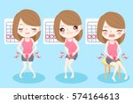 cute cartoon woman feel... | Shutterstock .eps vector #574164613