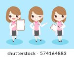 cute cartoon woman dentist show ... | Shutterstock .eps vector #574164883