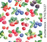 watercolor hand drawn berries... | Shutterstock . vector #574176127
