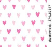 pink heart seamless pattern.... | Shutterstock .eps vector #574183897