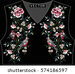 Stock vector embroidery ethnic flowers neck line flower design graphics fashion wearing 574186597