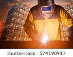 industrial welding worker with... | Shutterstock . vector #574190917