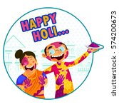 indian people celebrating... | Shutterstock .eps vector #574200673