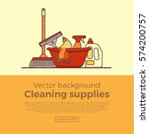 household cleaning supplies... | Shutterstock .eps vector #574200757