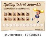 spelling word scramble for word ... | Shutterstock .eps vector #574208353