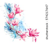 watercolor floral spring... | Shutterstock . vector #574217647