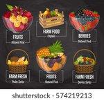 Organic Farm Fruit Set Vector...