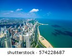 aerial view of chicago city...   Shutterstock . vector #574228687