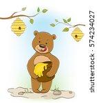 cute little cartoon bear eating ...   Shutterstock .eps vector #574234027
