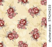 seamless floral pattern with... | Shutterstock .eps vector #574244233