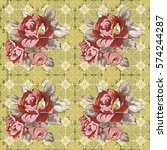 seamless floral pattern with... | Shutterstock .eps vector #574244287