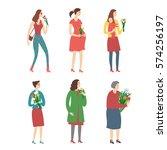 set of different age women...   Shutterstock .eps vector #574256197