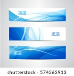Vector set of abstract blue wavy headers, water flow banners. Use for web site, ad, brochure, flyer   Shutterstock vector #574263913