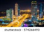 night cityscape at songdo...   Shutterstock . vector #574266493