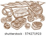 bread products set   rye bread  ... | Shutterstock .eps vector #574271923