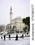 Small photo of ISTANBUL,TURKEY- JANUARY 08, 2017:Firuz Aga mosque in winter season at Istanbul,Turkey