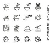 cooking and baking icon set for ... | Shutterstock .eps vector #574293043