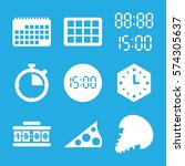 set of 9 time filled icons such ... | Shutterstock .eps vector #574305637