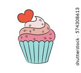 Cupcake With Hearts On The...
