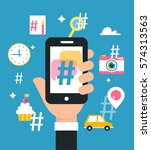holding smart phone with...   Shutterstock .eps vector #574313563