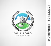 golf concept logo template with ... | Shutterstock .eps vector #574323127