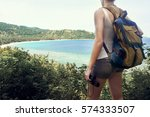 happy woman tourist with... | Shutterstock . vector #574333507