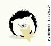 illustration. cute hedgehog...   Shutterstock .eps vector #574336207