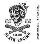 racing emblem with skull in... | Shutterstock . vector #574356253