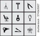 set of 9 editable barber icons. ... | Shutterstock .eps vector #574365007