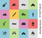 set of 16 editable camping... | Shutterstock . vector #574371613