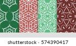 set of decorative geometric... | Shutterstock .eps vector #574390417